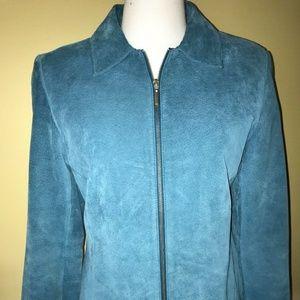 Vintage Clio Blue Suede Leather Zip Front Jacket